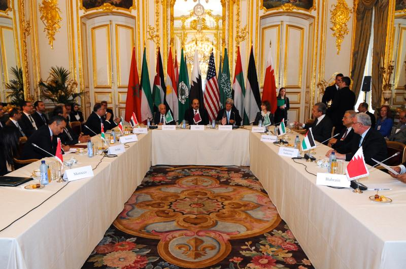 U.S. Secretary of State John Kerry opens a meeting of the Arab Peace Initiative focused on Middle East peace in Paris on October 21, 2013