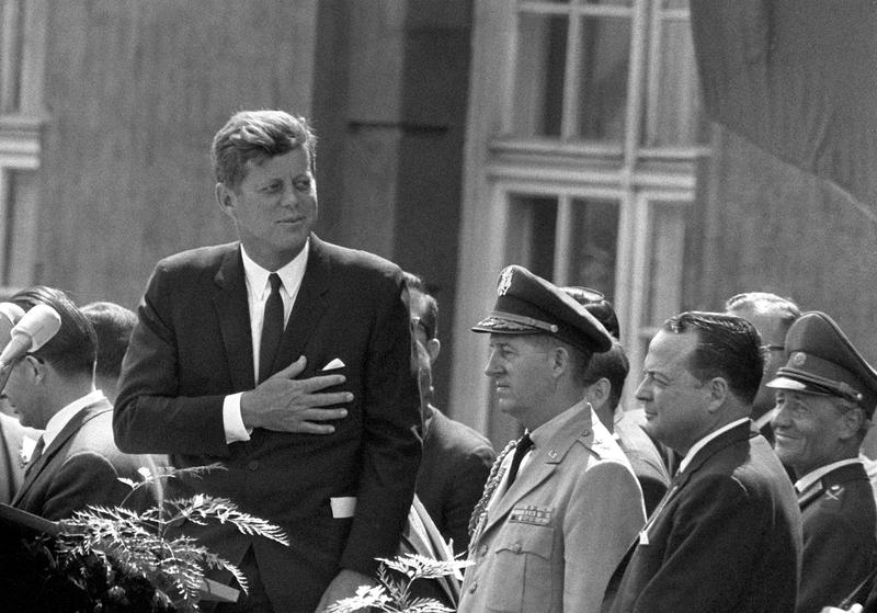 Picture taken on June 26, 1963 shows then US President John F Kennedy (L) giving a speech at the Schoeneberg city hall in Berlin.