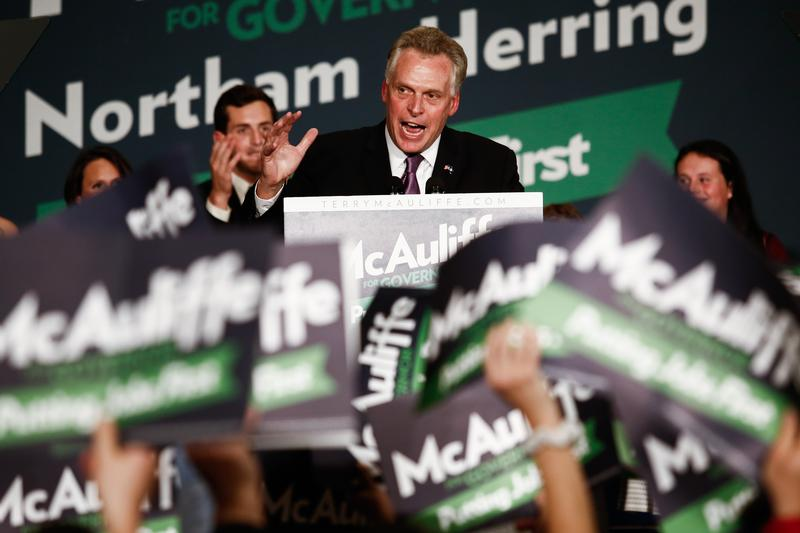 Virginia Governor-elect Terry McAuliffe (D) speaks to the crowd during an election night event, November 5, 2013 in Tysons Corner, Virginia. McAuliffe defeated state Attorney General Ken Cuccinelli.