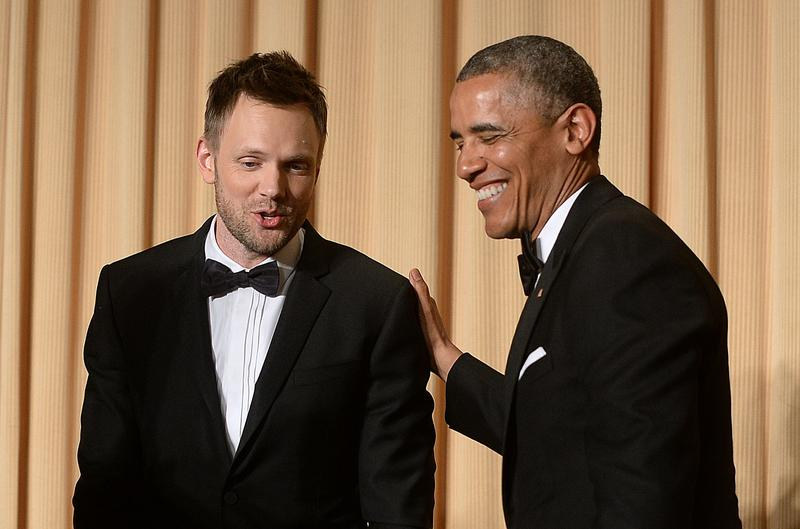 US President Barack Obama and comedian Joel McHale share a laugh at the 2014 White House Correspondent's Association Gala at the Washington Hilton