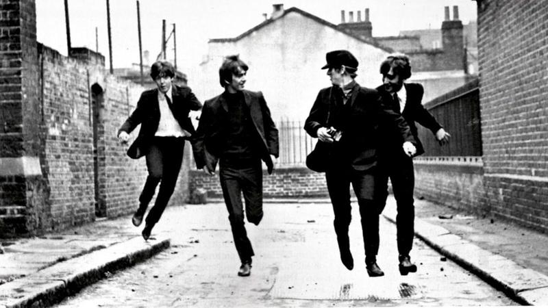 A still from <em>A Hard Day's Night,</em> originally released in 1964.