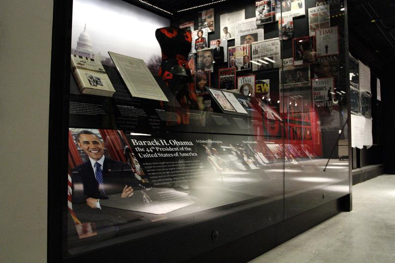 In this photo taken July 18, 2016, an exhibit depicting the presidency and the life of President Barack Obama and his family is seen during  tour at the National Museum of African American History.