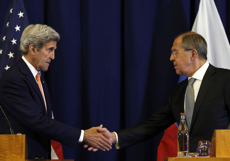 In this Sept. 9, 2016 file photo, Secretary of State John Kerry, left, and Russian Foreign Minister Sergei Lavrov shakes hands following their meeting to discuss the crisis in Syria.