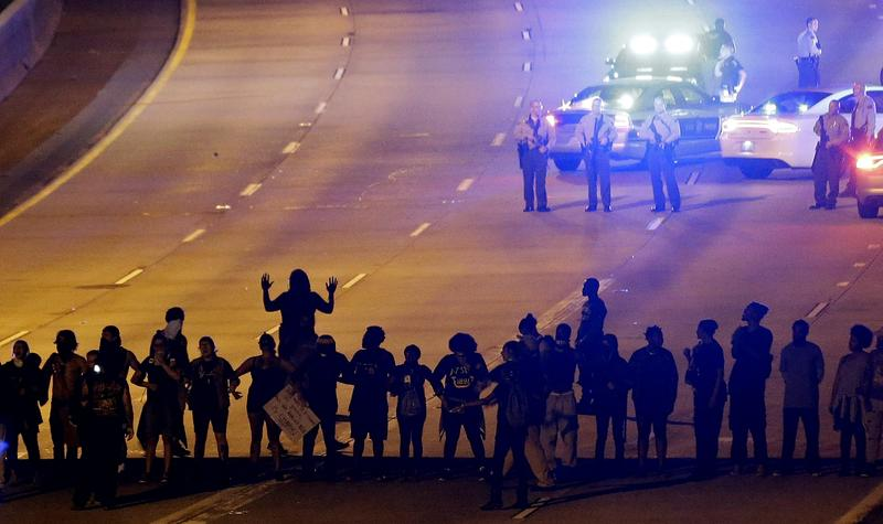 Sept. 22, 2016: Protesters block I-277 during a third night of unrest following Tuesday's police fatal shooting of Keith Lamont Scott in Charlotte, N.C.