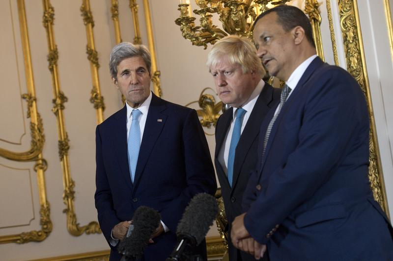 U.S. Secretary of State John Kerry, British Foreign Secretary Boris Johnson and UN Special Envoy for Yemen Ismail Ould Cheikh Ahmed, at Lancaster House in London Sunday Oct. 16, 2016.