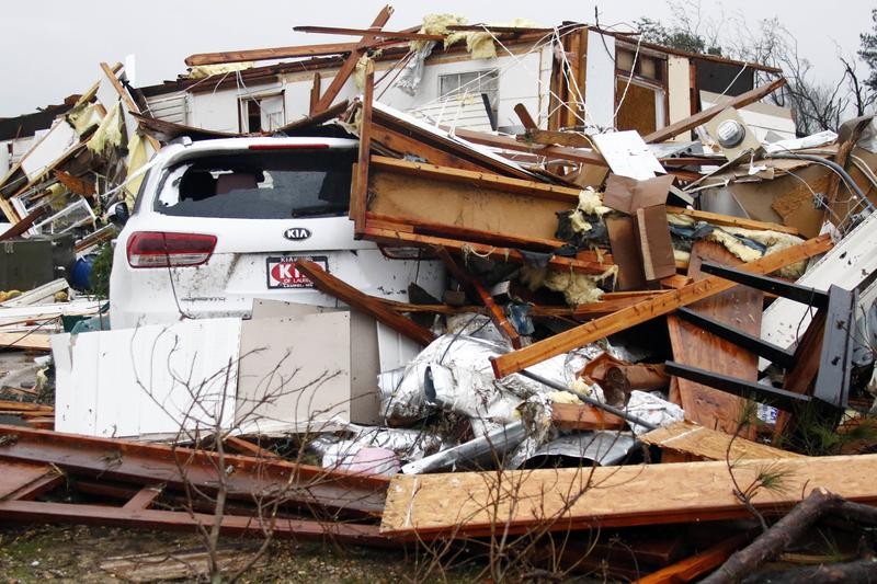 Hardly anything remains of the home of Jessie and Diana Mills of the Pine Grove Community near Magee, Miss., following a direct hit by a possible morning tornado, Thursday, Jan. 19, 2017.