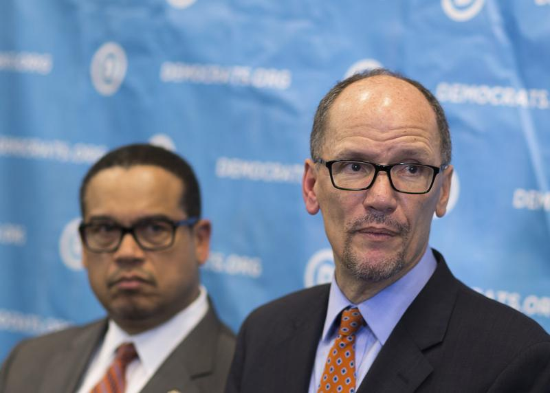 Newly elected Democratic National Committee Chairman Tom Perez, right, and Rep. Keith Ellison, D-Minn., who was named deputy chairman, listen to a question from the media. Feb. 25, 2017