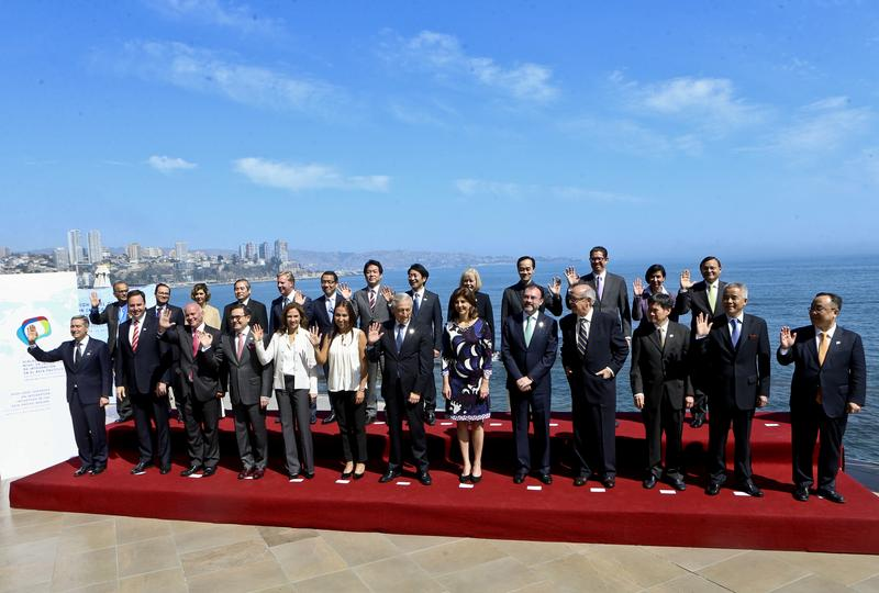 Chile's Foreing Minister Heraldo Munoz. center, poses for a offcial picture with representatives from the Trans-Pacific Partnership in Vina del Mar, Chile, Wednesday, March 15, 2017.