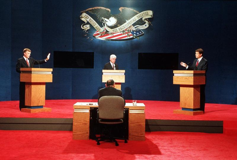 Republican candidate Dan Quayle, left, debates with Independent James Stockdale, center, and Democratic candidate Al Gore Oct. 13, 1992.