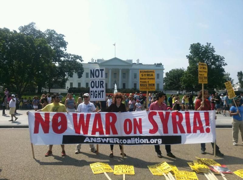 A protest against U.S. intervention in Syria at the White House. August 31, 2013