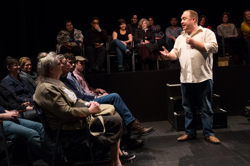 Jonny Donahoe in a scene from 'Every Brilliant Thing' at the Barrow Street Theatre.