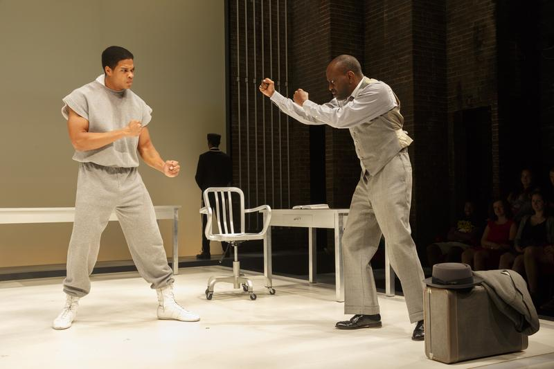 "Ray Fisher and K. Todd Freeman onstage in ""Fetch Clay, Make Man"""