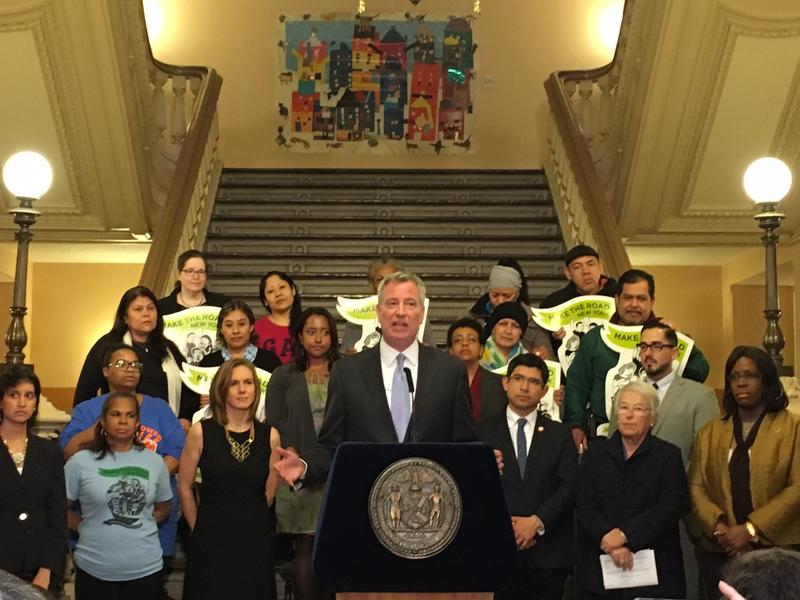 Mayor de Blasio says New York City will continue to stand up for immigrants.