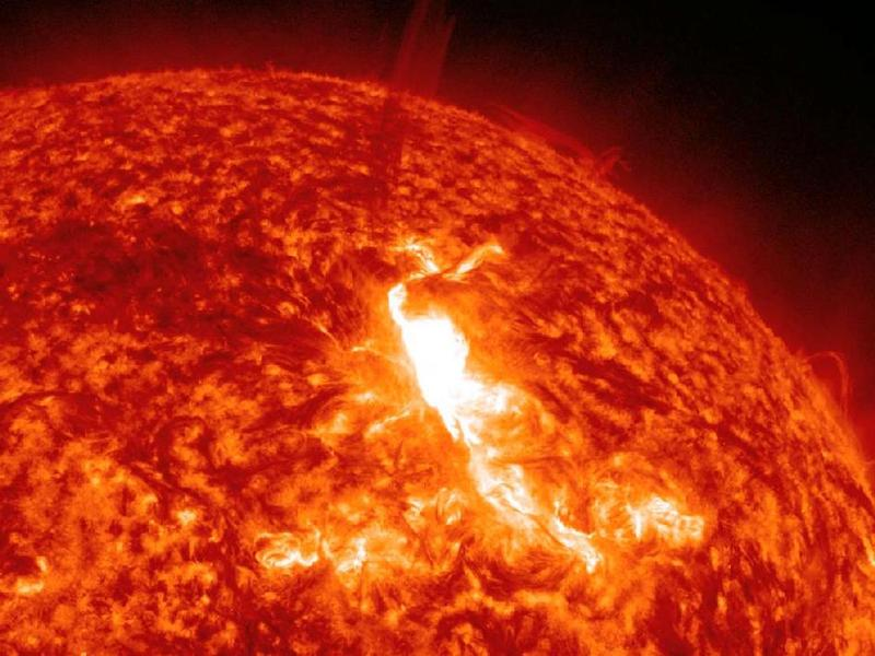 This closeup still of the January 22, 2012, M8.7 class solar flare was taken by the Solar Dynamics Observatory.