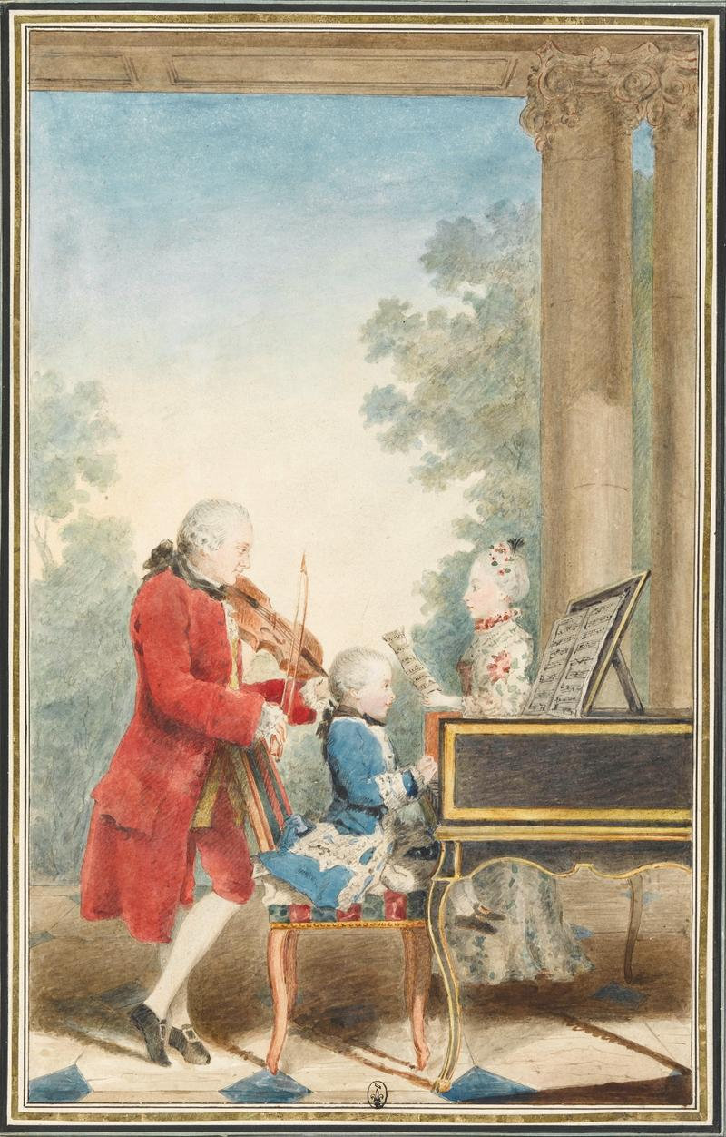 The Mozart family on tour: Leopold, Wolfgang and Nannerl.