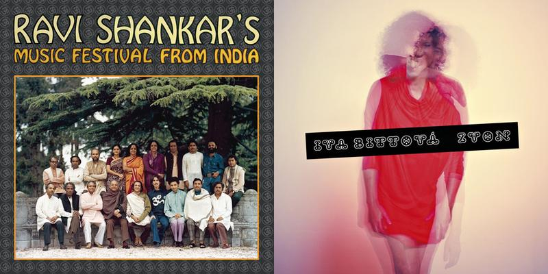 the album covers for Ravi Shankars Music Festival from India, and Iva Bittova's Zvon