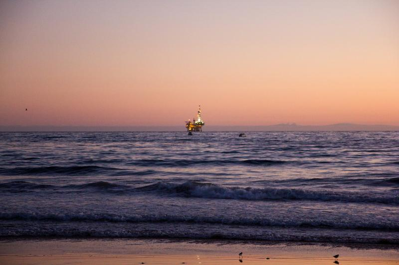 An offshore drilling rig, off the coast of Santa Barbara