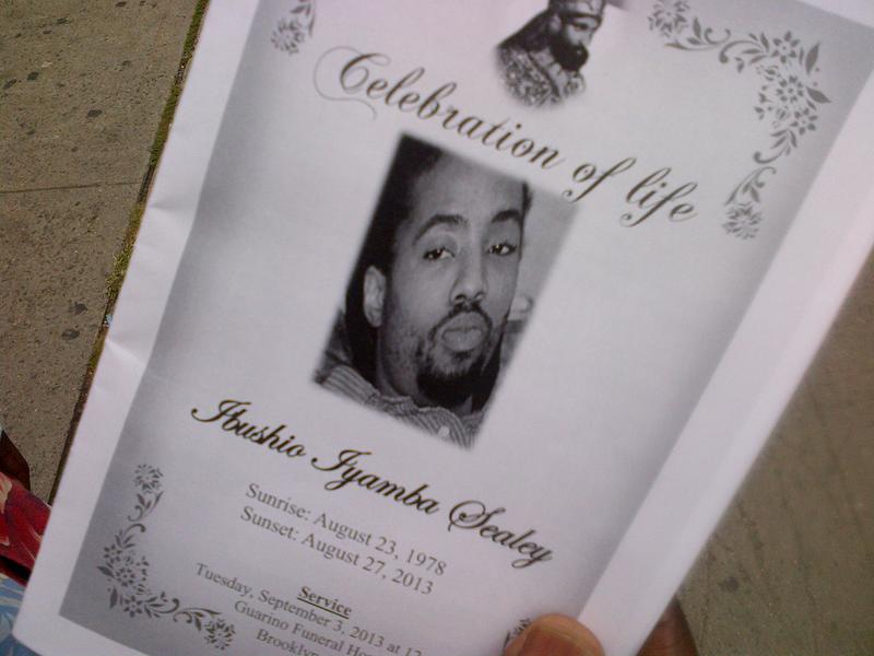 A brochure marking the death of a gunshot victim made the rounds in Brownsville, Brooklyn