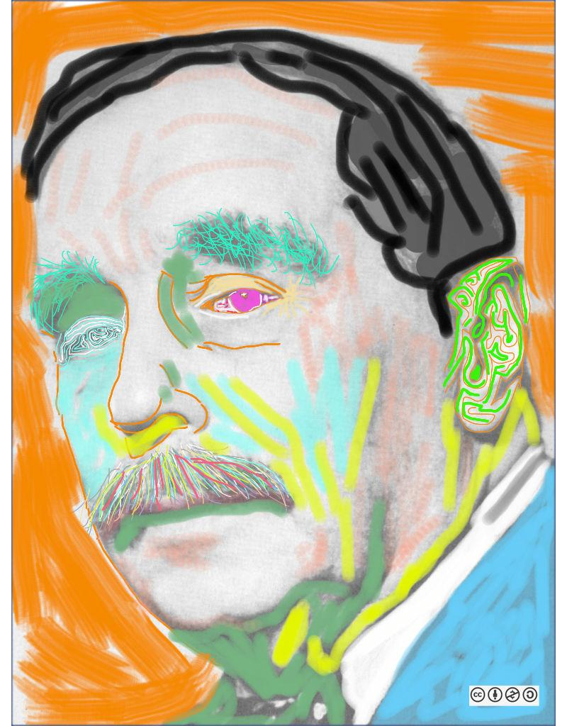 Modified photograph of H.G. Wells.