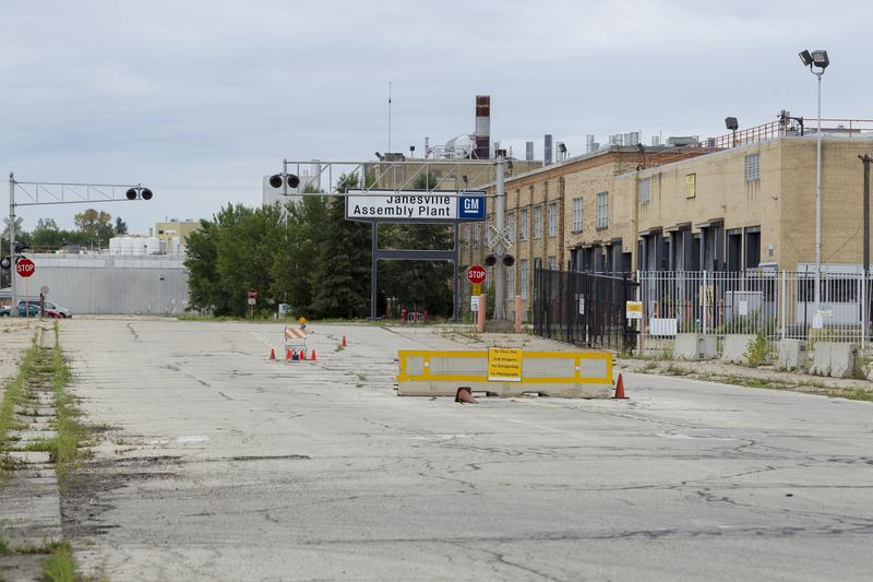 This photo taken Sunday, Aug. 12, 2012, shows the closed down General Motors plant in Janesville, Wis., hometown of U.S. Rep. Paul Ryan.