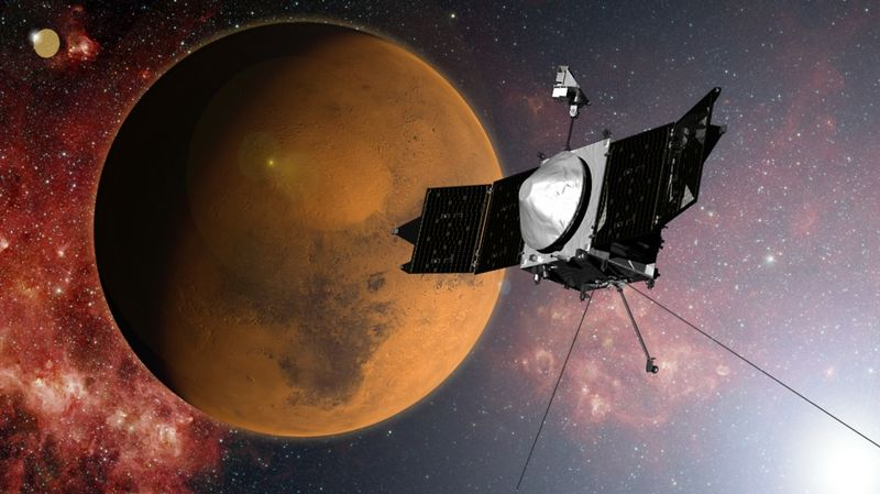 This image shows an artist concept of NASA's Mars Atmosphere and Volatile EvolutioN (MAVEN) mission. On Sept. 21, 2014, MAVEN entered orbit around Mars/