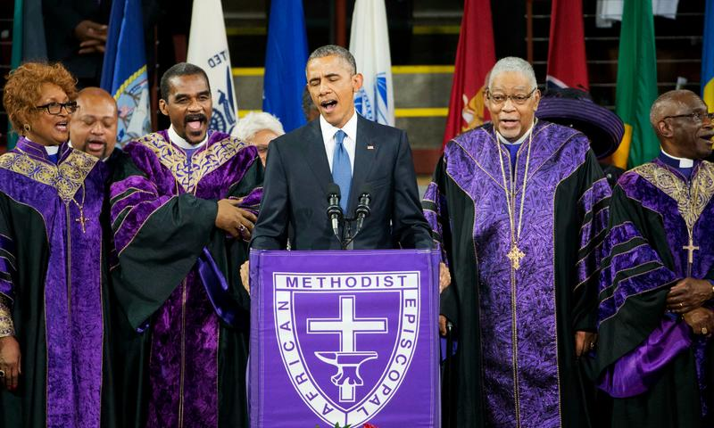 "Former President Barack Obama sings ""Amazing Grace"" at a 2015 service honoring victims of the shooting at Emanuel AME Church in Charleston, SC"