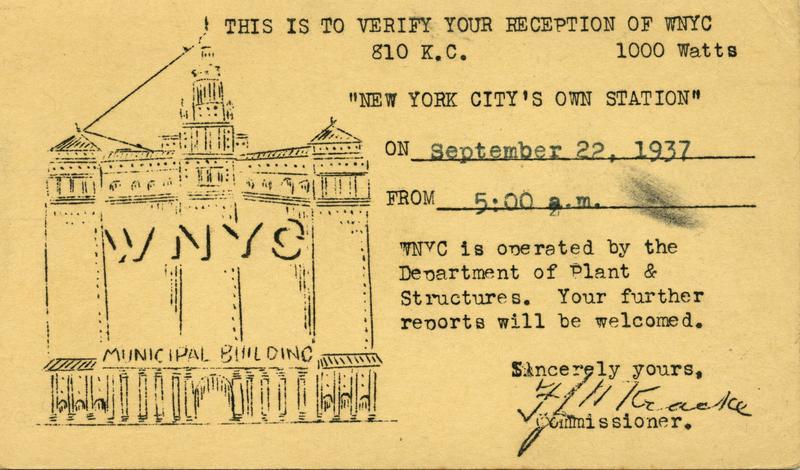 A 1937 WNYC QSL card