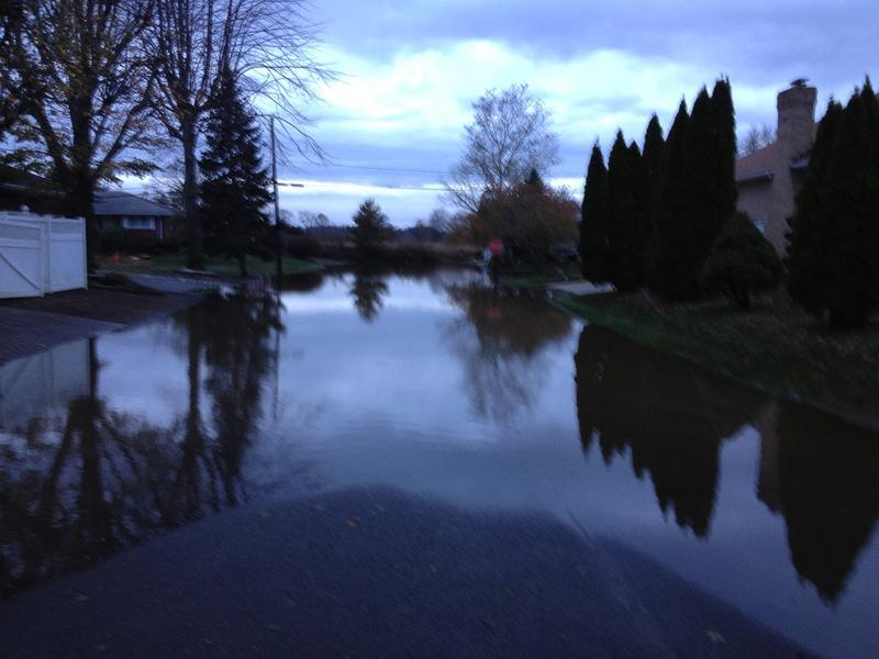 A flooded street in Sayreville, N.J.