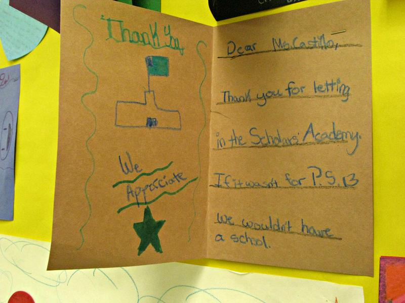 Students from Scholars' Academy made cards for their hosts.