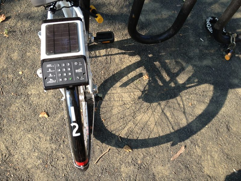 The solar-powered on-board computer on a Social Bicycle