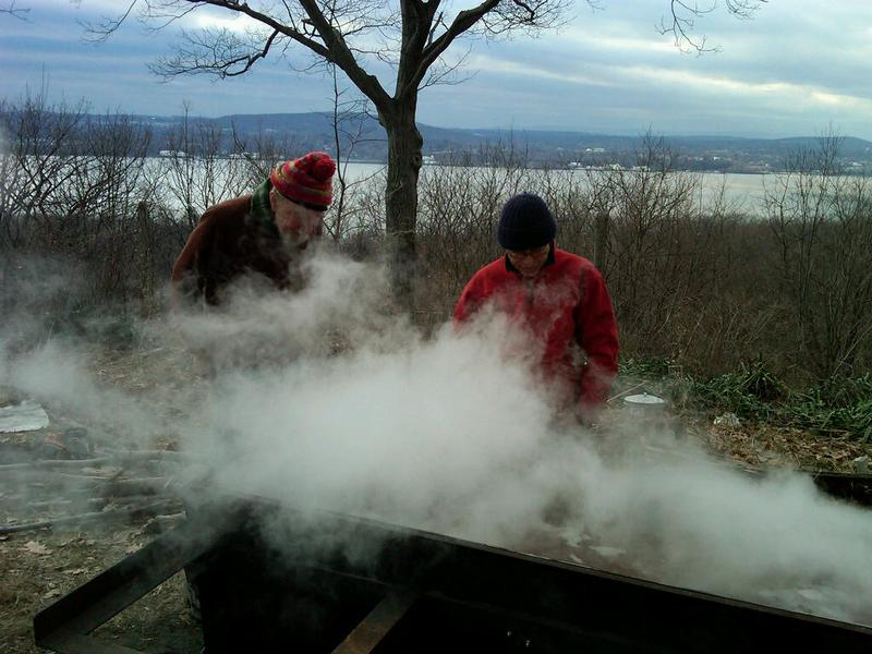 Boiling sap for maple syrup in the Hudson Valley