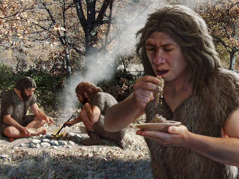 A rendering of Neanderthals cooking and eating. The ancient humans inhabited Europe and western Asia between 230,000 and 29,000 years ago.