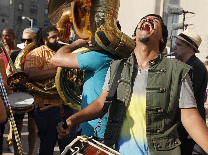 About 350 musicians and even more spectators gathered on the steps of the Brooklyn Public Library on June 21 for the NPR Music-commissioned premiere of Sunny Jain's <em>100+ BPM</em>.