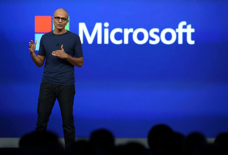 Microsoft CEO Satya Nadella delivers a keynote address during the 2014 Microsoft Build developer conference on April 2, 2014 in San Francisco, California. (Justin Sullivan/Getty Images)