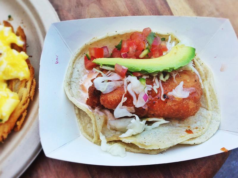 Take a bite — or or maybe don't — of this beer-battered mako shark taco with cabbage, <em>pico de gallo</em>, avocado, arbol chile and cream from Guerilla Tacos in Los Angeles.