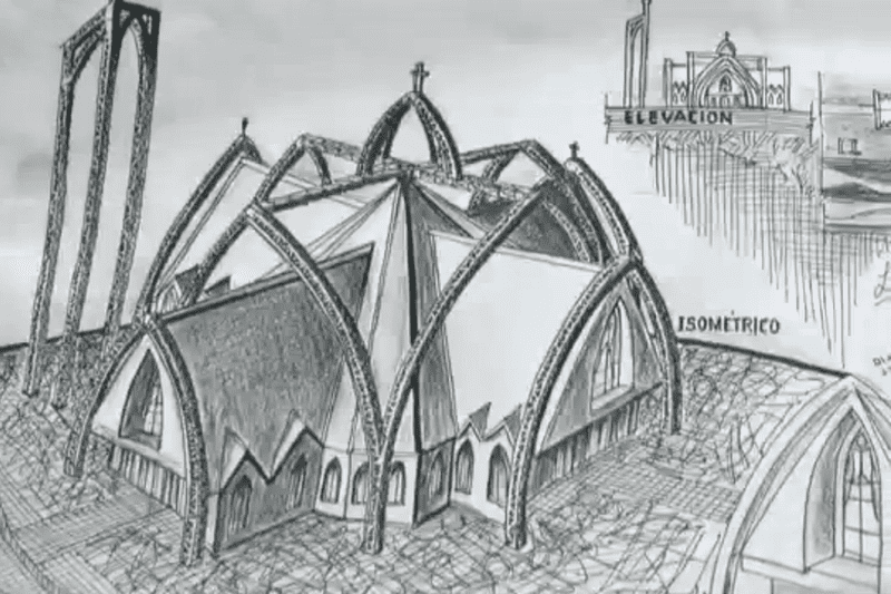 A sketch of the church plans is seen in this screenshot from Sarah Rainsford's BBC video report.