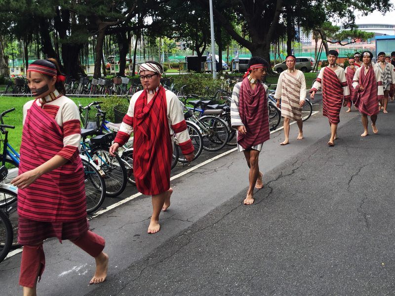 University students who belong to indigenous tribes prepare for a ceremony to affirm their ethnic identity. Taiwan's aboriginal tribes arrived thousands of years before Chinese immigrants, but now account for only 2 percent of the population.