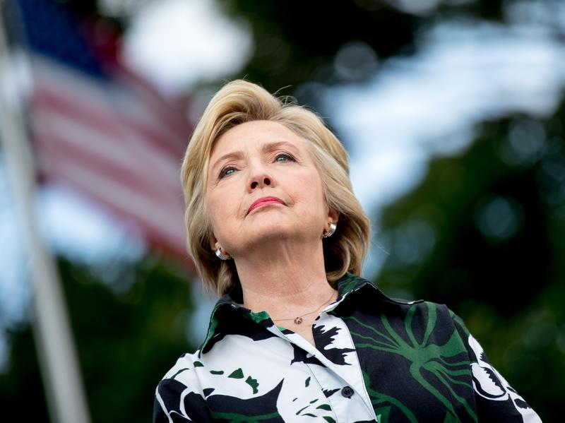 """Democratic presidential nominee Hillary Clinton appears onstage at a rally at Fort Hayes Metropolitan Education Center in Columbus, Ohio. Clinton is coming under fire for claiming that FBI Director James Comey said she was """"truthful"""" about past statements regarding her emails."""