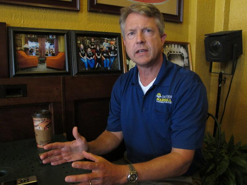 Roger Marshall, a Republican candidate in the 1st Congressional District of central and western Kansas, speaks in an interview in Emporia, Ill. Marshall hopes to unseat U.S. Rep. Tim Huelskamp, R-Kan in the upcoming primary race. (John Hanna/AP)