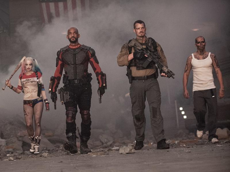 Boomerang (Jai Courtney), Harley Quinn (Margot Robbie), Deadshot (Will Smith), Rick Flag (Joel Kinnaman) and El Diablo (Jay Hernandez) in <em>Suicide Squad.</em>