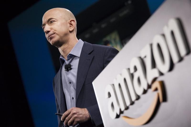 Amazon.com founder and CEO Jeff Bezos presents the company's first smartphone, the Fire Phone, on June 18, 2014 in Seattle, Washington. (David Ryder/Getty Images)