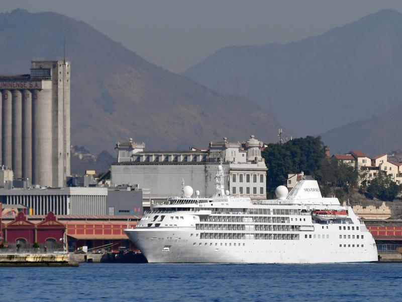 The U.S. men's and women's basketball teams will reportedly stay on the Silver Cloud cruise ship rather than the athletes village during the Olympic Games that start in Rio de Janeiro on Friday. The cruise ship is shown here on Monday at Rio's Maua Pier.