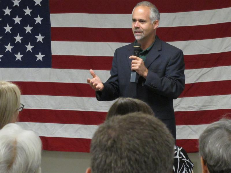 Rep. Tim Huelskamp, R-Kan., speaks during a campaign town hall meeting at the headquarters of Patriot Outfitters.