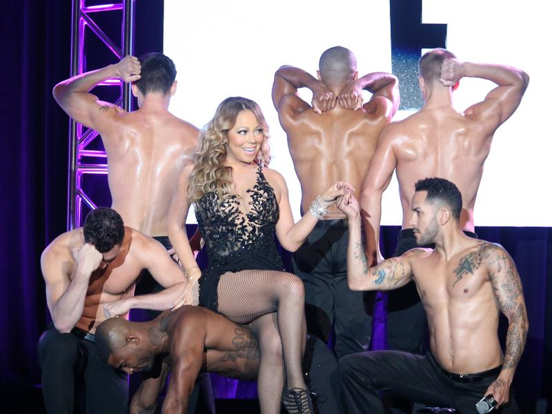 Mariah Carey and sundry oiled-up attendants yesterday at the 2016 Television Critics Association Summer Tour.