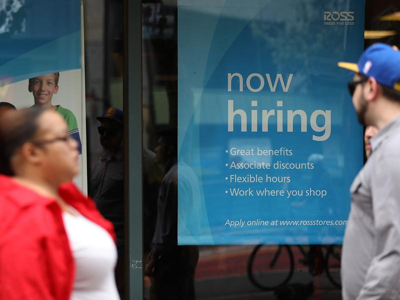 "A ""'now hiring"" sign is posted outside of a Ross Dress for Less store on July 8 in San Francisco."