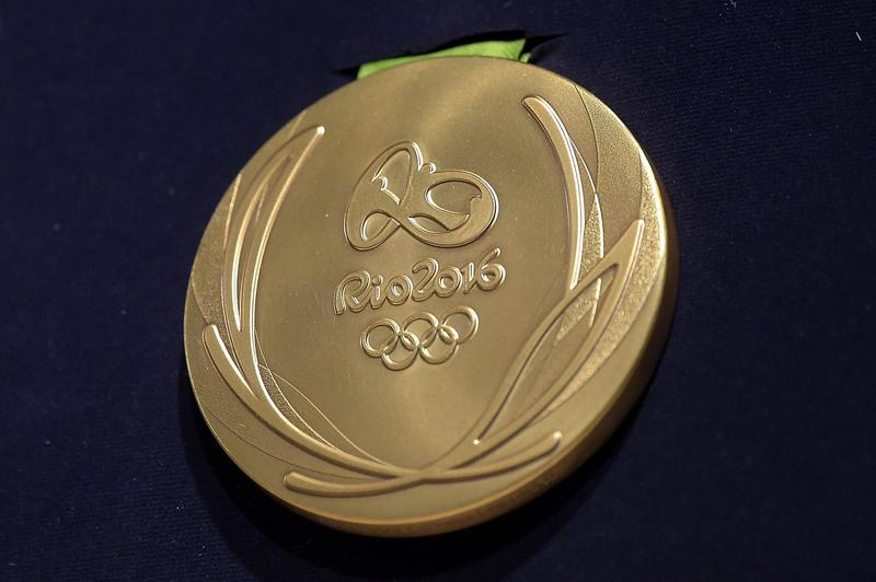 A close-up of the Olympic gold medal for the 2016 Summer Games in Rio. (Alexandre Loureiro/Getty Images)
