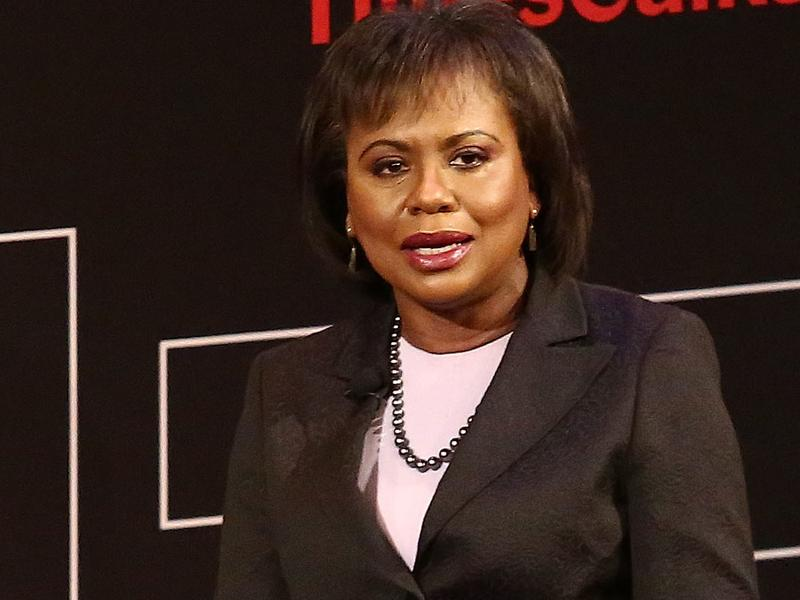 "Anita Hill speaks during ""TimesTalks Presents: Kerry Washington and Anita Hill <em>Confirmation""</em> on April 8 in New York City. Hill is now a professor of race and gender policy at Brandeis University."