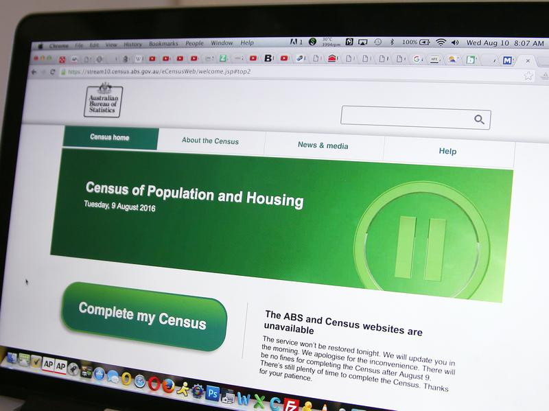 The webpage of the Australian Bureau of Statistics shows that the online census form is unavailable.