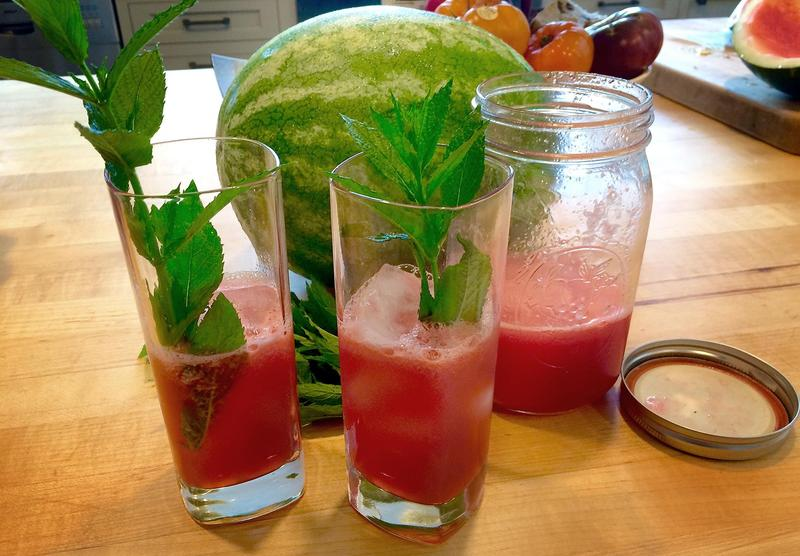 Glasses with Kathy's watermelon agua fresca. (Kathy Gunst for Here & Now)