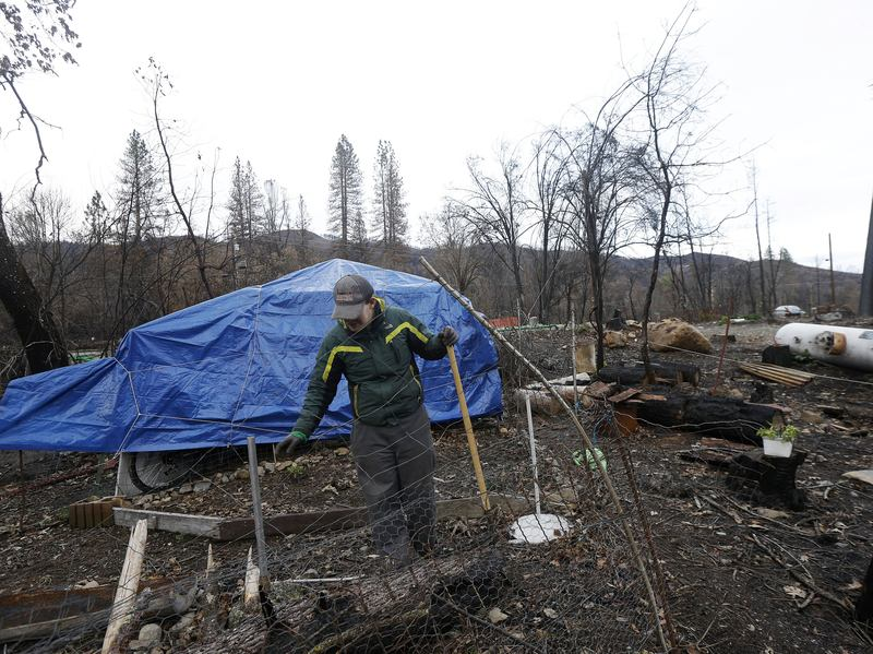 In January of this year, Daniel Laine surveys the site where his grandmother's Anderson Springs house had burned down in a wildfire last September. Officials said today the Valley Fire, which killed four people and wiped out more than 1,300 homes, probably started with faulty hot tub wiring.